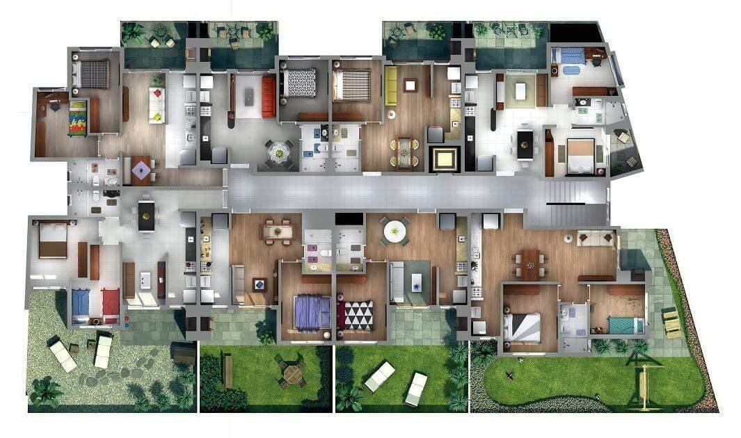 Planta Baixa completa - Imagens 3D